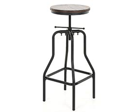 iKayaa Adjustable Bar Stool Natural Pinewood Top