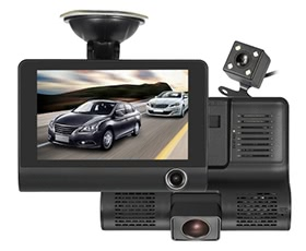 "KKMOON 4"" 1080P Three Lens Car DVR Dash Cam Camera Camcorder"