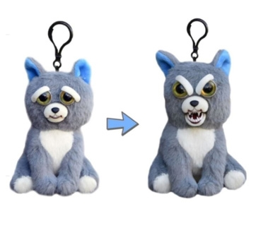 Feisty Pets Mini Dog Sammy Suckerpunch Key Chains Adorable Plush Stuffed Turns Feisty with a Squeeze