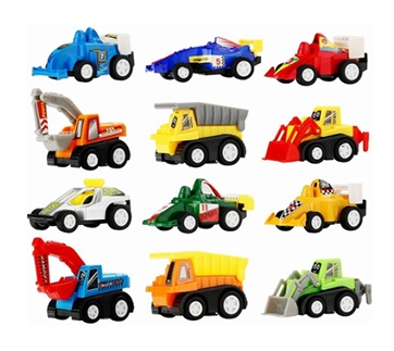 12 Pcs Pull Back Vehicle Assorted Construction Vehicles and Racer Cars