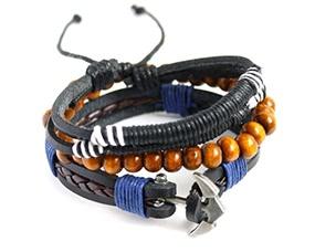 Fashion Multi-layer Alloy Wooden Beads Braided Bracelet