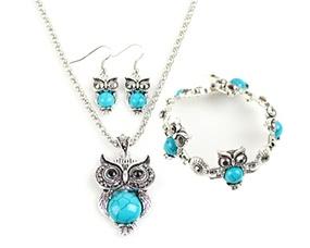 Retro Three-pieces Bracelet Earrings Necklace Jewelry Set