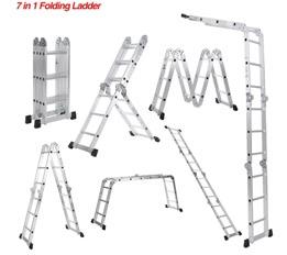 iKayaa 7 in 1 Ladder Aluminum Work Platform W/ Safety Locking Hinge
