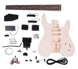 Unfinished DIY Electric Guitar Kit Basswood Body Rosewood Fingerboard Maple Neck Special Design Without Headstock