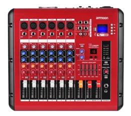 ammoon PMR606 6-Channel Digital Audio Mixer Mixing Console for Recording DJ Stage Karaoke
