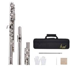 Western Concert Flute Silver Plated 16 Holes C Key Cupronickel Woodwind Instrument