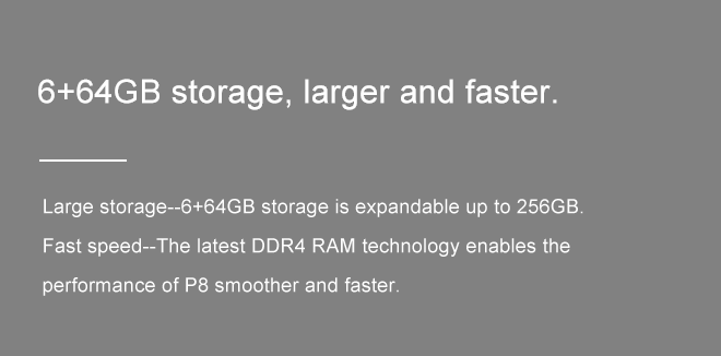 6+64GB storage, larger and faster.