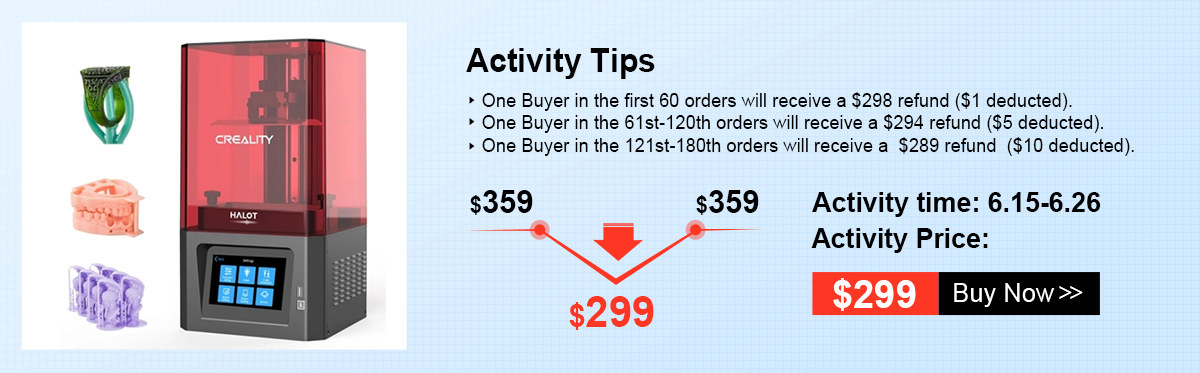 $1 To Win Creality 3D Printer,Hurry! $299! Limited Stock!
