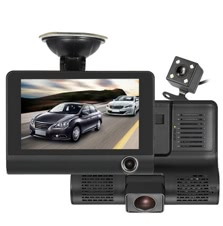 "KKMOON 4"" 1080P Three Lens Car DVR Dash Cam Camera Camcorder Night Vision"