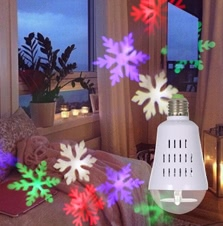 E27 Dynamic Snowflake Film Projector Bulb Light