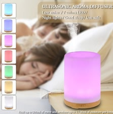 Anself 200ml Cool Mist Humidifier 7 Colors LED light for Home Office Bedroom SPA Yoga EU plug